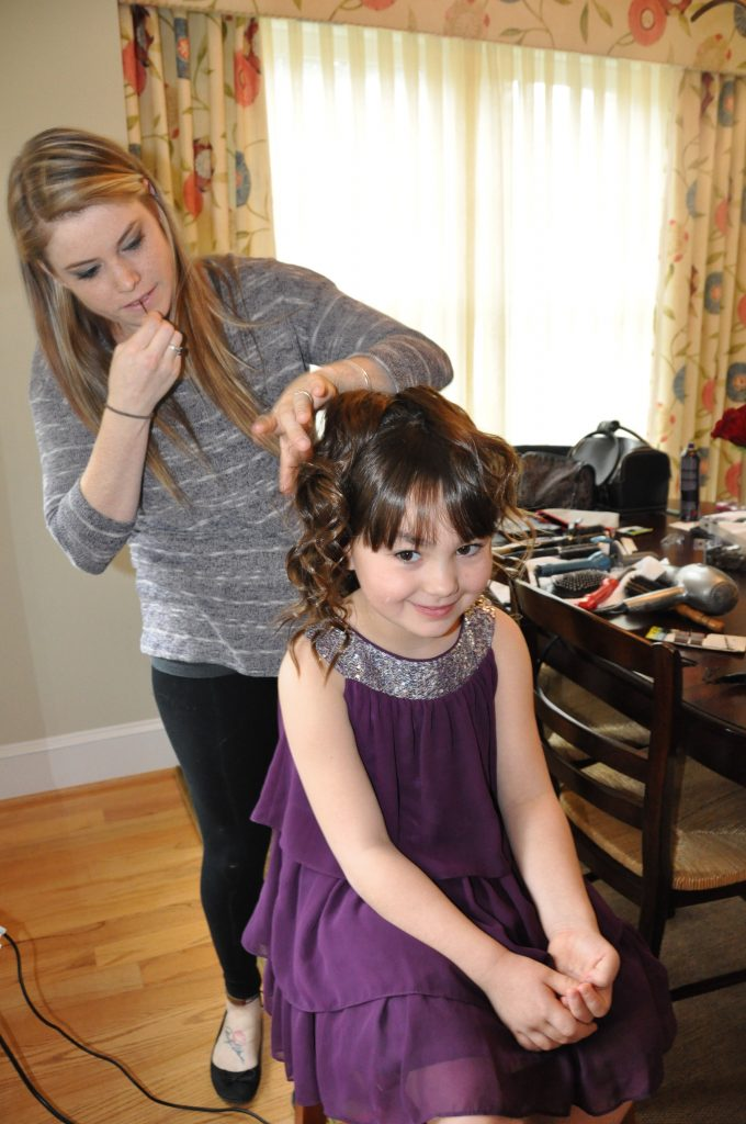 Maya getting an undo by Blowdry Taxi stylist Ashley. Photo by ©ClarendonMoms